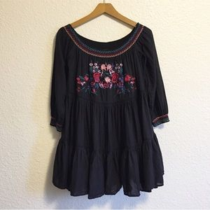Free People Floral Embroidered Ruffle Dress
